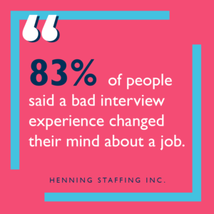 Supporting fact 83% of people change their mind after bad interview